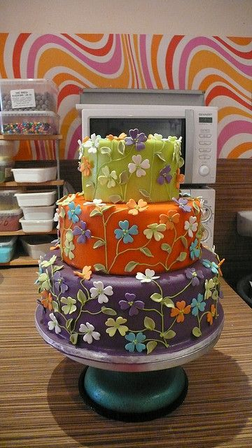 Colorful Flower Garden Wedding Cake by CAKE Amsterdam - Cakes by ZOBOT, via Flickr
