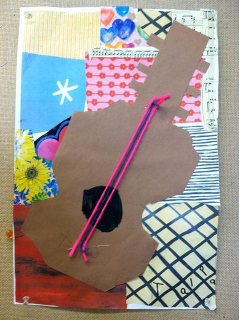 Kindergarten Picasso Inspired Guitar Collages | Art ...