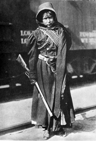 """Soldadera of the Mexican Revolution~ the Mexican Revolution was not fought by men alone. Many women took up arms and went to war as well. This was common in the rebel armies, especially among the soldiers fighting for Emiliano Zapata. These brave women were called """"soldaderas"""" and had many duties besides fighting, including cooking meals and caring for the men while the armies were on the move. Sadly, the vital role of the soldaderas in the Revolution has often been overlooked.:"""
