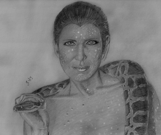 Joanna Cassidy as Zhora in 'Blade Runner'  Freehand sketch using HB pencil and eraser on 100gsm paper