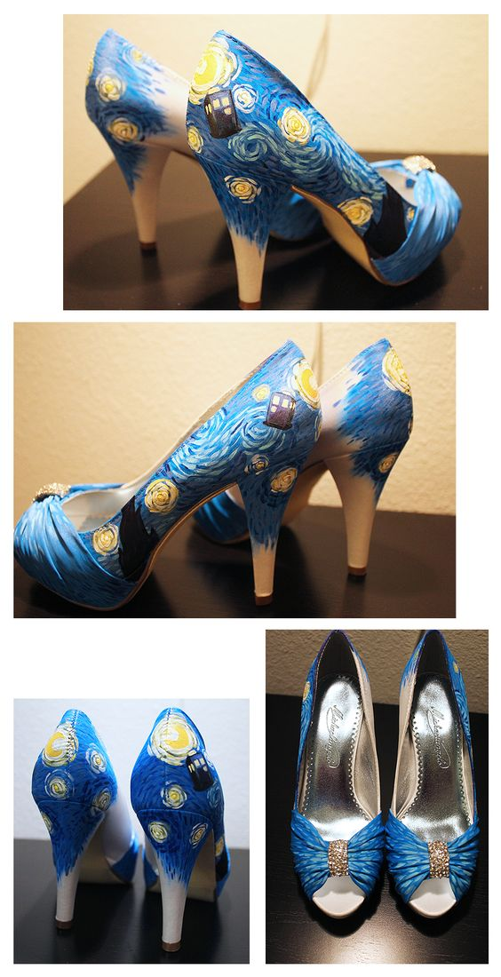 Dr. Who shoes I was commissioned to make for a bride. You can get your own custom shoes here: https://www.etsy.com/listing/99328764/custom-designed-shoes-by-beebee
