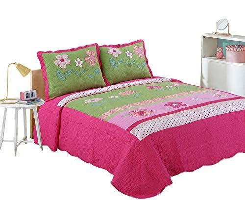 Hnnsi Girls Flower Kids Quilt Bedspread Set Queen Size 3pcs 100 Cotton Girls Comforter Kids Bedding Set Kids Bedding Sets Sheets Bedding Pattern Bedspread Set
