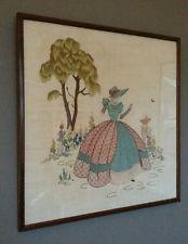 Superb Vintage Art Deco Crinoline Lady Framed Embroidery On Linen 1930's