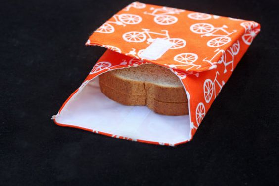 3piece lunchwrap set orange bicycle by StudioGingersnap on Etsy, $12.00