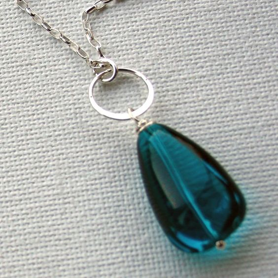 Chunky teal teardrop sterling necklace by heartshapedworld on Etsy