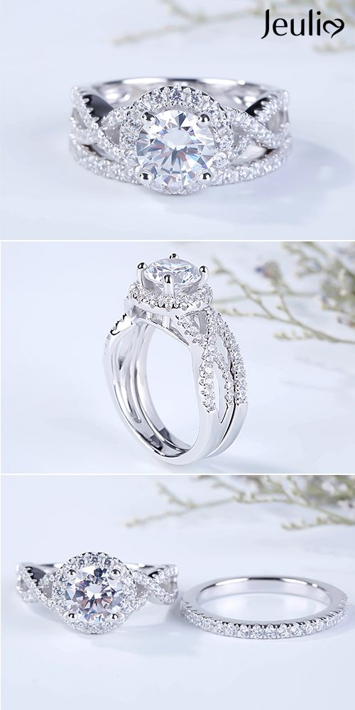 Infinity Diamond Solid 14K White Gold Vintage Solitaire Accent Wedding Engagement Ring Bridal 1CT Princess Cut Round Ruby cz