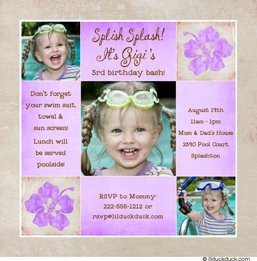 Pink Hibiscus Hawaiian Birthday Invitation Tropical Flower Swim