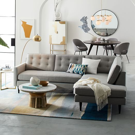 Drake 2 Piece Terminal Chaise Sectional West Elm Living Room Art Deco Living Room Living Room Inspiration