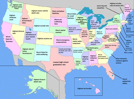 Here S A Map Of What Each U S State Is The Worst At Funny Interesting Facts Funny Stuff And Funny Maps