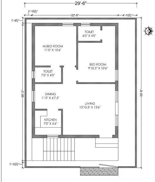 House Plan East Face With Vaasthu 30x40feet Home Designs Interior Decoration Ideas 2bhk House Plan 20x40 House Plans 30x40 House Plans Small house plan east facing