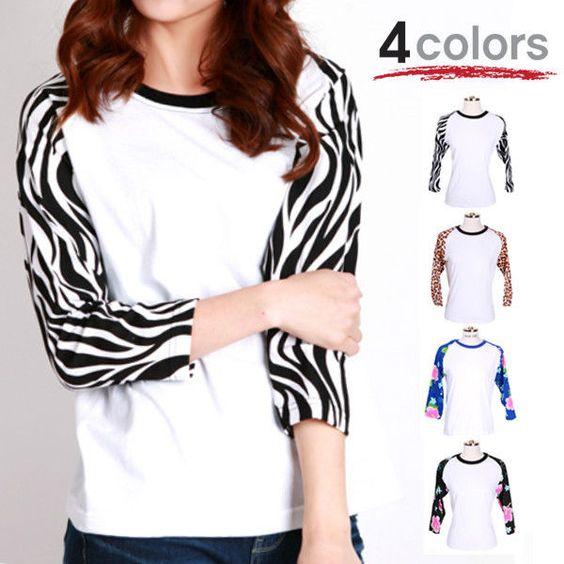 NEW 3/4 Sleeve Raglan Baseball Tshirt Pattern Printing Jersey Trend Top Tee  #holicmall #BasicTee