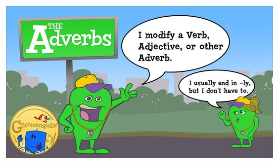 The Adverb Neighborhood, featuring Benny the adverb. An adverb modifies a verb, adjective, or other adverb.