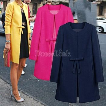 Women's Korean Style Autumn Winter Woolen Coat all-match Outerwear Trench Coat - $11.39