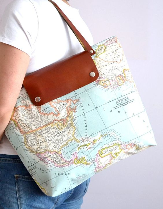 """Take a map for your travels with the """"World Map Printed Fabric Tote Bag"""" ($70.00)"""