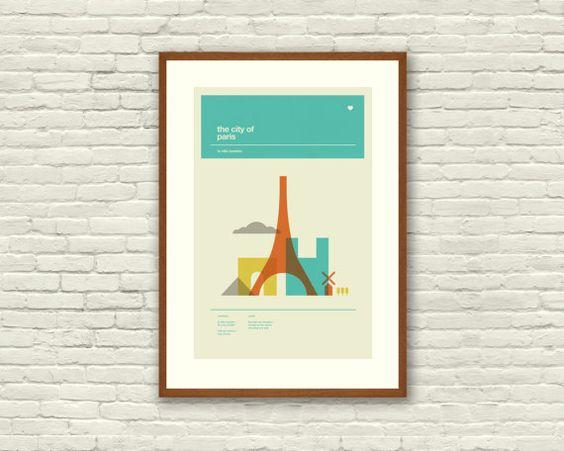 Paris poster city art print 12 x 18 minimalist nursery for 1950s minimalist house