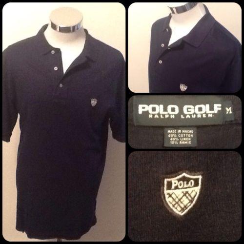 """Polo Golf/Ralph Lauren-Medium-Men's Linen Blend Golf Shirt-Navy w/ """"Polo""""Shield"""