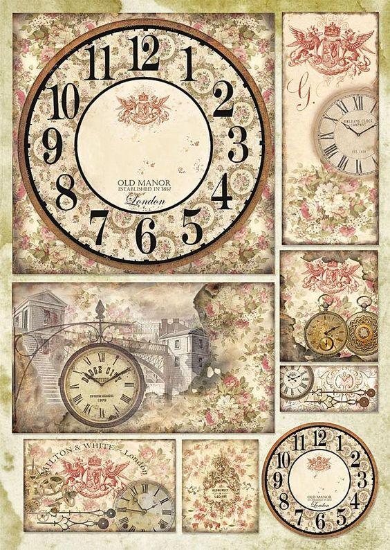 """Decoupagebogen """"Uhren und Rosen"""" - VBS-Hobby.com"""