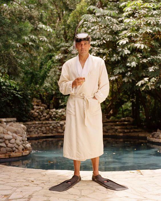 Only George can look this studly in a bath robe and scuba flippers.