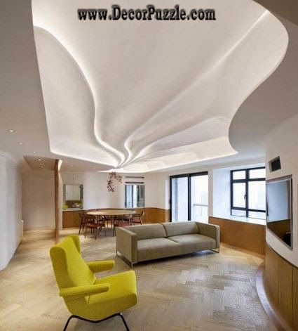 Wavy ceiling design with led lights plaster of paris for Plaster of paris designs for living room