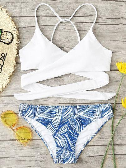 Ad Crisscross Tropical Print Bikini Setfor Women Romwe Cute