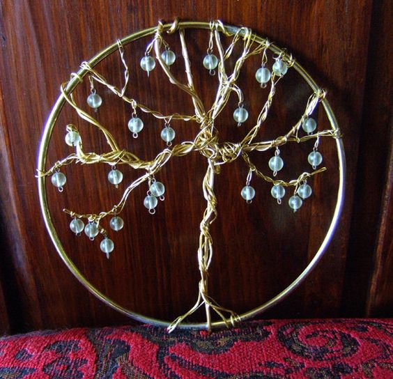 Tree of Life Wall Hanging Art Pagan Wicca Beaded by CaravanCloset, $20.00