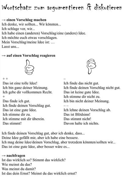 Wortschatz zum argumentieren und diskutieren. German phrases for discussions, free work sheet