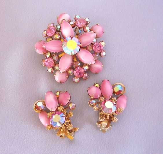 Signed BEAU JEWELS Pink Rhinestone Set Pink Flower by jryendesigns, $39.00