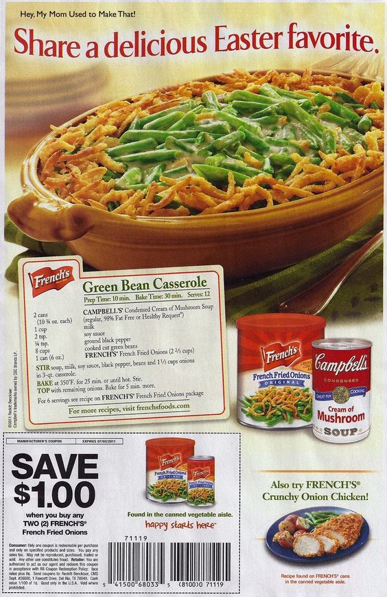The original Green Bean Casserole recipe ~ According to Wikipedia, this recipe was created in 1955 by the Campbell Soup Company.