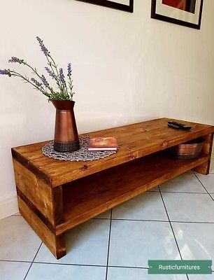 Tv Stand Tv Unit Chunky Rustic Handmade Furniture Solid Pine Wood