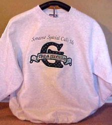 Applique Sweatshirt Someone Special Calls me (any name here) grey or white sweatshirt 6 sizes available variety of fabrics to choose from $32.50
