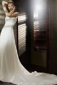 Vestido de noiva Linha-A Comprimento Pavimento Estilo elegante Sem mangas