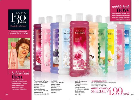 #AVON Anniversary Special! Senses Bubble Bath $4.99 each!  https://www.avon.com/brochure/?s=ShopBroch&c=repPWP&repid=7659965&setlang=en #BubbleBath #DailyCare #BodyCare