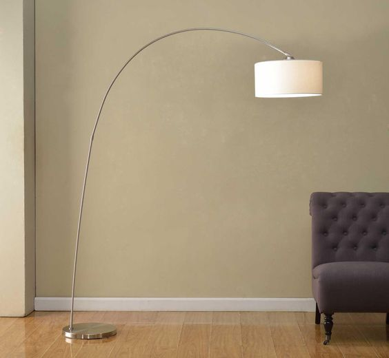 Amazon.com - Artiva USA Adelina, European Sleek Design, Modern Art, 1-Arch 81-Inch Satin-nickel Finish Floor Arc Lamp w/ Heavy-duty Base, Adjustable Shade -