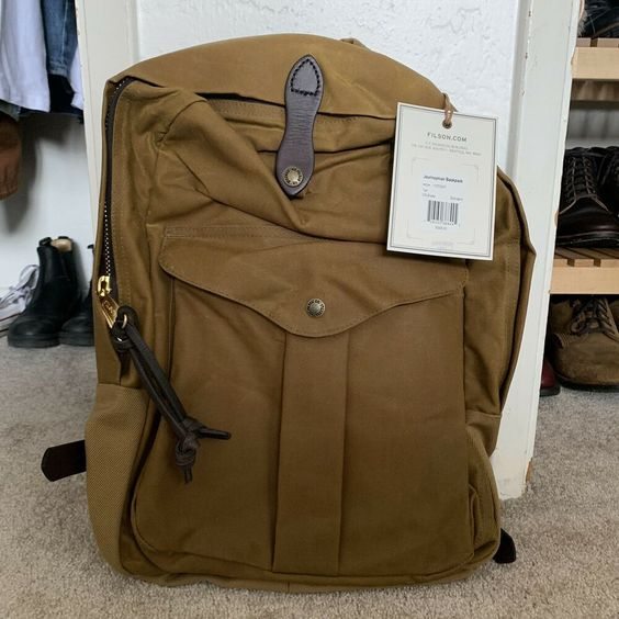 Filson Journeyman Backpack Tan Tin Cloth Twill Bridle Leather Nwt Made In Usa Fashion Clothing Shoes Accessories Mensaccessories Ba Backpacks Bags Filson