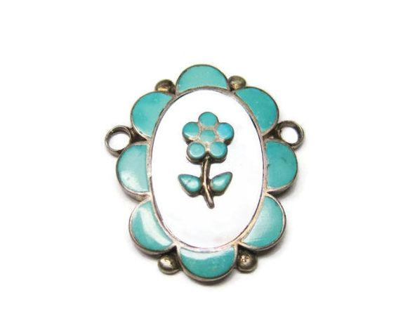 Turquoise Mother of Pearl Pendant Flower by BejeweledEmporium