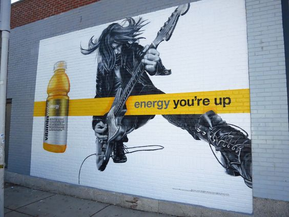 """Vitaminwater- """"You're Up"""" Painted Wallscape in Boston, MA"""