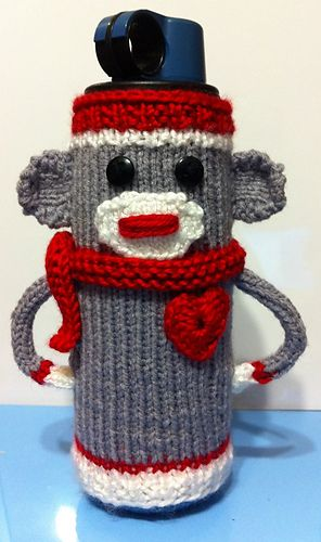 sock monkey water bottle cozy