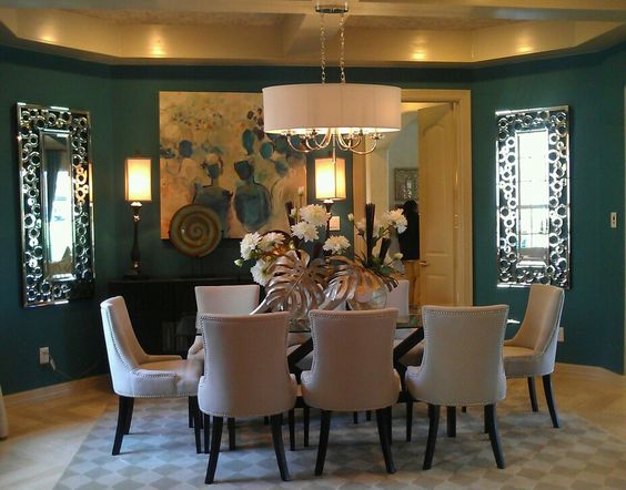 Deep teal dining room walls design inspirations for Teal dining room ideas