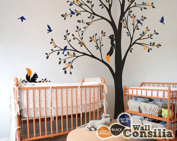 Tree Wall Decal - Nursery Wall Decoration - Tree Wall Sticker - Corner Tree  decal -