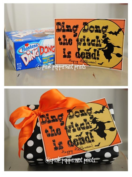 """Freebies: Free Printable Halloween Tags: Ding Dong the Witch is Dead…Perfect for neighborhood """"boo""""ing gifts, teacher gifts » Pink Peppermin..."""