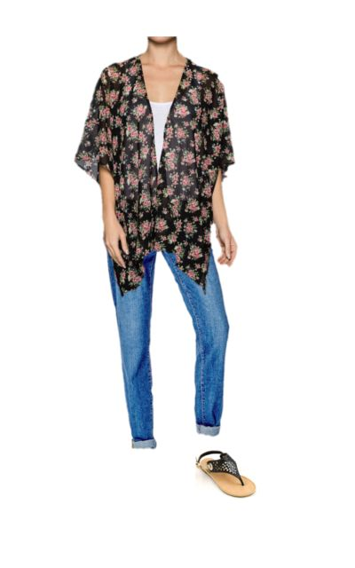 Our gorgeous floral kimono paired with our boyfriend Yoga Jeans and Bogota sandals! The perfect spring ensemble!