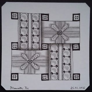 "Learning to tangle with Zentangle®: Diva's Weekly Challenge#252-""""String Theory: Tangle within a tangle"""