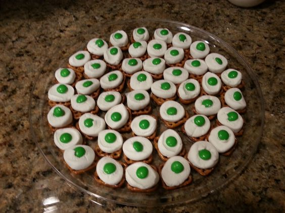 Green Eggs & Ham.  Easy to make....pretzels topped with marshmallow & green m&m  If you have anyone with dairy allergies you can use fruit snacks instead of the m&m.