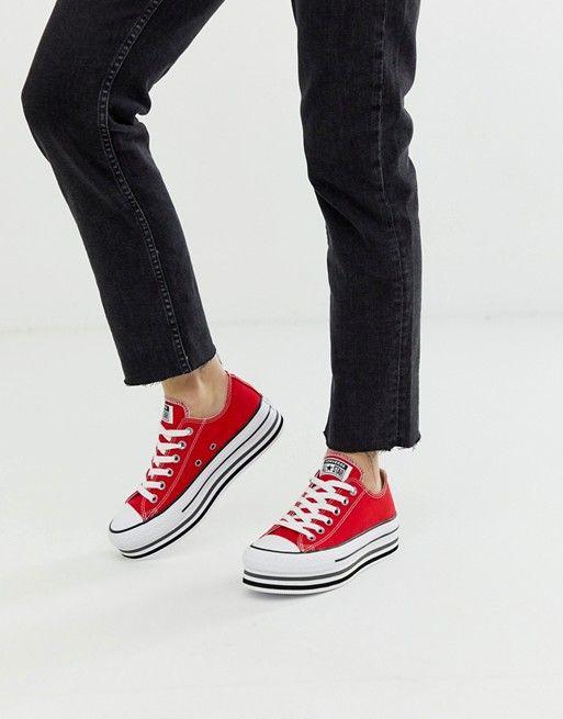 star platform layer red sneakers   ASOS