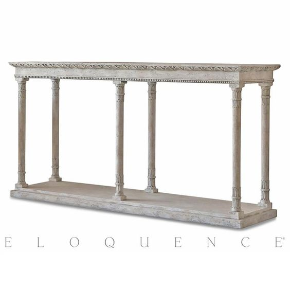 Eloquence® Gustav Console Table in Oak Driftwood   Kathy Kuo Home
