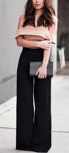 Nude Crop & Black, Wide Leg Pants.