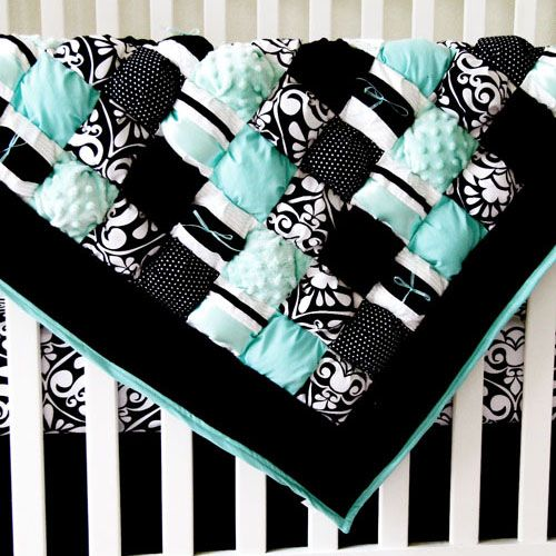 Puff quilt tutorials & patterns on this site. Very cute! I love the teal and black!