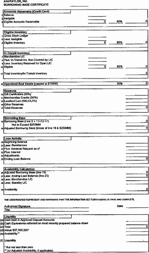 20 Borrowing Base Certificate Template Excel In 2020