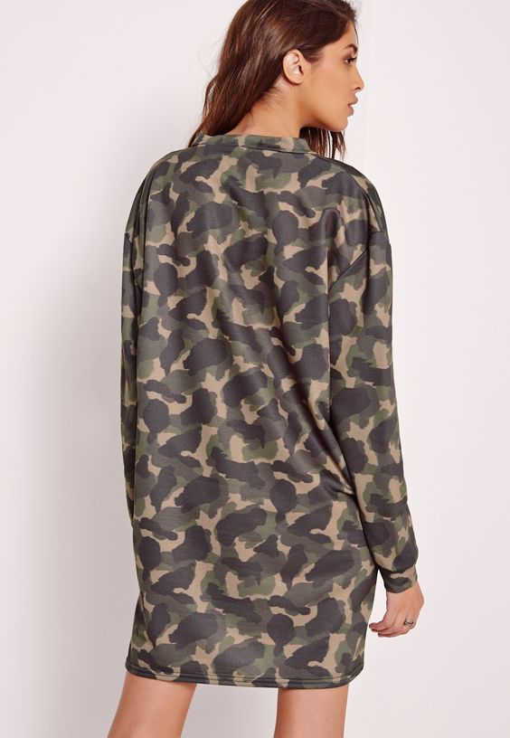 Missguided - Camo Oversized Sweater Dress Green | Cheap finds ...