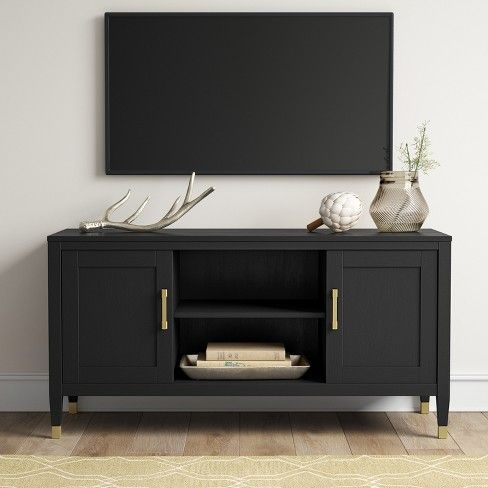 Duxbury Black Tv Stand With Gold Feet Threshold Target Living Room Tv Stand Black Tv Stand Black Tv Cabinet